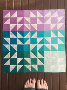 Beautifully colored Sea Breeze Mini Quilt top WIP by Angie Wilson of GnomeAngel.