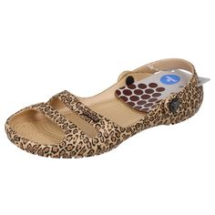 LADIES CROCS SANDALS IN GOLD/BLACK - STYLE - CLEO II LEOPARD PRINT SANDAL W