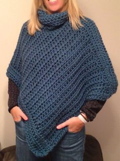 Crochet Cowl Neck Poncho  by NickerNackers on Etsy