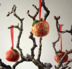 Autumn ornament felted apples wool set of 3 by astashtoys on Etsy, $12.00