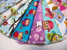 Cloth Napkins, Kids Lunchbox Napkins, 10 Girls Owls and Bird Napkins, Back To School. $12.00, via Etsy.