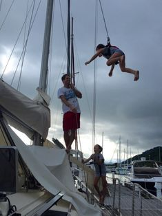 Climbing on Maya This Saturday morning, the kids were very happy to have Papa for them (no working for Shortcut). They profited to have some climbing lessons on the mast. It was really fun! Saturday Morning, Climbing, Maya, Sailing, Outdoor Decor, Fun, Kids, Candle, Young Children