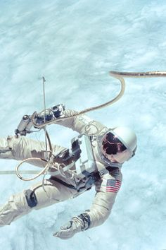 NASA Gemini Mission Spacewalk. Famous shot. Note the hand held maneuvering gun.