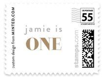 i am one Foil-Pressed Children's Birthday Party Invitations by Phrosne Ras | Minted Am One, Kids Stamps, Birthday Invitations Kids, Boy Birthday Parties, First Baby, Postage Stamps, Products, Stamps, Gadget