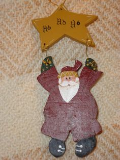 Handcrafted Wooden Painted Santa Ornament by dehdesigns on Etsy, $7.00