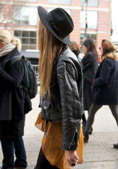 Leather jacket + fedora #stylesaint