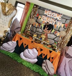 African American Bamm Bamm Flintstones Party Backdrop Personalized Ste – Banners by Roz Girl Dinosaur Birthday, Baby Boy 1st Birthday Party, Birthday Party Themes, Baby Shower Parties, Baby Shower Themes, Pebbles And Bam Bam, Banner Backdrop, Kids Party Themes, Baby Shower Gender Reveal