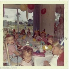 Vintage Old Color Photo Little Girls Boys Kids at Birthday Party Balloons Hats   eBay