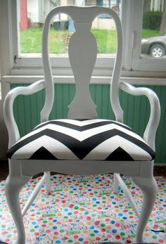 """(done) Just finished covering this cushion with this gorgeous b&w chevron print.  It is destined to be my new office chair.  The chair itself still needs another coat of paint before I'll be happy with it.  Fabric is called """"Zippy"""" which is available at www.etsy.com/moderncloth"""