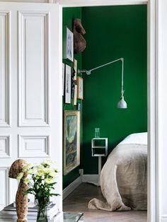 Green bedroom via the blog My Scandinavian Home.