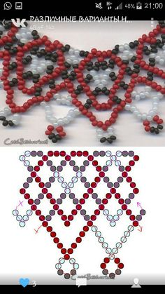Easy netting with fringe - Schema ~ Seed Bead Tutorials - Salvabrani Beaded Jewelry Patterns, Beading Patterns, Crochet Necklace, Beaded Necklace, Handmade Beads, Beading Tutorials, Bead Crafts, Perler Beads, Seed Beads