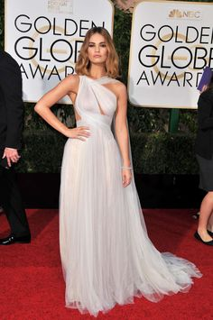 Lily James in Marchesa Gown at 2016 Golden Globe Awards in Beverly Hills