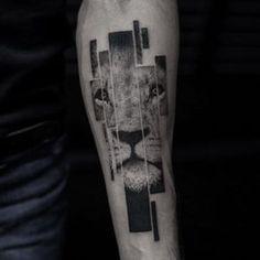 Segmented Lion Tattoo by Balazs Bercsenyi