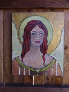 Angel with red hair mixed media acrylic original by Debmoart, $175.00
