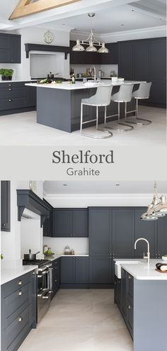 Create a dark grey shaker kitchen with white worktops to create a dark contemporary kitchen. Add classic details like a kitchen mantle to create a cosy kitchen. Grey Kitchen Diner, Grey Shaker Kitchen, Grey Kitchen Island, Cosy Kitchen, Grey Kitchens, Kitchen Mantle, Dark Grey Kitchen Cabinets, Grey Kitchen Designs, Kitchen Room Design