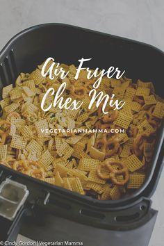 Air Fryer Chex Mix (ready in 16 minutes) Air Fryer Chex Mix is a quick and easy way to prepare your chex mix. Simply mix ingredients together, cook in air fryer and in 16 minutes you'll have delicious air fryer chex mix. Air Fryer Recipes Snacks, Air Frier Recipes, Air Fryer Dinner Recipes, Snack Recipes, Easy Recipes, Vegetarian Recipes, Healthy Recipes, Chex Mix, Gluten Free Brands