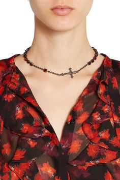 Gunmetal-tone brass Tonal-red crystals, cross charm Lobster clasp fastening Made…