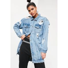 Missguided Blue Ripped Longer Length Denim Jacket (345 RON) ❤ liked on Polyvore featuring outerwear, jackets, navy, jean jacket, navy blue jacket, navy denim jacket, denim jacket and blue denim jacket