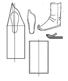 Apache Boot  - This is NOT a Mongol Boot. It looks like the Mongol boot and I wanted to emphasise the differences. This design is based on Apache boot pattern found in White (p.44). From Footwear of the Middle Ages - Historical Shoe Designs/Number 47, by I. Marc Carlson.