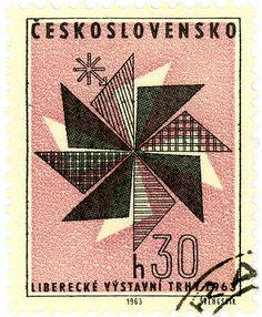 Czechoslovakia postage stamp: modern fashion c.