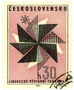 Czechoslovakia postage stamp: modern fashion c.