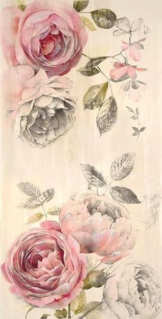 Botanical inspiration - pale pink and faded greys