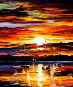 This painting has very strong lines that help bring it together- both from the colorful lines of the clouds at sunset and with the horizon.