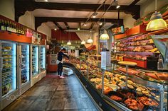 inside a delicatessen shop - a typical delicatessen shop in amsterdam