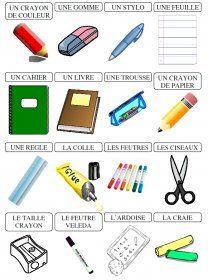 Le matériel scolaire Des affiches et des étiquettes avec le matériel scolaire.
