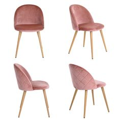 Dining Chairs Coavas Soft Velvet Seat and Back with Wooden Style Metal Legs Kitchen Chairs for Dining and Living Room Chairs Set of Pink Eames Dining Chair, Kitchen Table Chairs, Gray Dining Chairs, Table And Chairs, Coffee Chairs, Coffee Room, Velvet Cushions, Chair Cushions, Conference Chairs