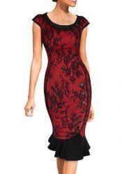 Elegant Scoop Neck Cap Sleeve Floral Print Buttoned Mermaid Dress For Women (DEEP RED,M) | Sammydress.com Mobile
