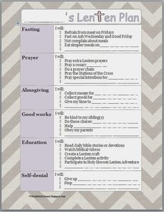 With a Faithful Heart: FREE PRINTABLE Lenten Planner for Kids, and ideas for Lent with kids // I would alter this a little for our church tradition Ccd Activities, Religion Activities, Teaching Religion, Sunday School Activities, Sunday School Crafts, Easter Activities, Catholic Lent, Catholic Religious Education, Catholic Holidays