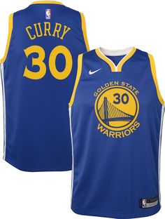 946efba5e Nike Youth Golden State Warriors Stephen Curry  30 Royal Dri-FIT Swingman  Jersey