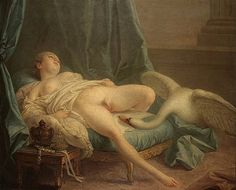 "By François Boucher. - The beak of the swan near the fire. - Board ""Beauty-Leda and the Swan"". -"