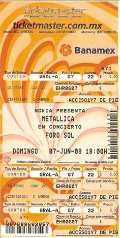 Entrada para un concierto de Metalica ¿Qué día fue? ¿A qué hora? ¿Dónde?