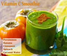 ♥♥♥… This smoothie is 2 persimmons, 1 banana, 4 cups baby spinach, 1/2 teaspoon cinnamon and 8 ounces of coconut water. incrediblesmoothi...