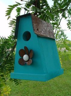 Rustic Teal Blue Birdhouse Rusty Metal Art by baconsquarefarm, $25.00