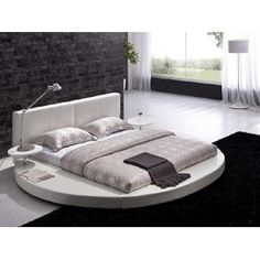 Modern White Leather Headboard Round Bed