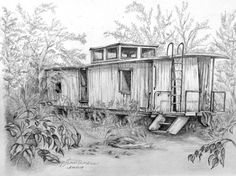 Old Caboose Art Print by PJ Timmermans. All prints are professionally printed, packaged, and shipped within 3 - 4 business days. Choose from multiple sizes and hundreds of frame and mat options. Landscape Pencil Drawings, Ink Pen Drawings, Drawing Sketches, Drawing Tips, Nature Sketches Pencil, Drawing Ideas, Drawing Designs, Sketching Tips, Drawing Projects