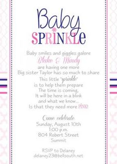 baby sprinkle baby shower invitation for a second baby girl creative