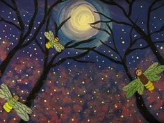 (K-5th) are creating a moonlit tree landscape with fireflies. I haven't seen a firefly since I lived in Atlanta 0ver 13 years ago. What a treat to look out and see the tiny glows in a summertime sky.  We learned that there are over 1900 species of fireflies in the world, 170 in North America. Antarctica is the only continent without them.