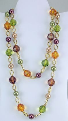 Kenneth Jay Lane Paris Couture multi color rope necklace goldtone made for QVC