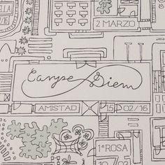 Este es el lema de uno de nuestros últimos encargos! Feliz martes! #carpediem #mapadevida #city #ciudad #instaart #instaartist #sketch #sketckbook  #drawing #art #ilustracion #illustration #dibujo #drawing #instaart #instaartist #instagood #artwork #design #doodle #ondarcy #regalosconestilopropio