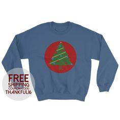 Christmas Tree Crewneck Sweater Adult Unisex by LeahOwenArt on Etsy https://www.etsy.com/listing/493625065/christmas-tree-crewneck-sweater-adult