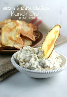 Authentic Suburban Gourmet: Bacon & White Cheddar Ranch Dip + Handmade Potato Chips