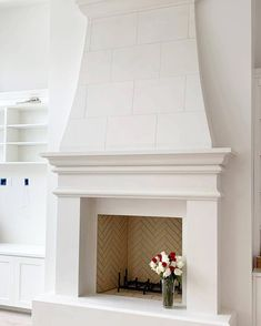 Minimalist Home Interior .Minimalist Home Interior Farmhouse Fireplace Mantels, Cast Stone Fireplace, Limestone Fireplace, Home Fireplace, Living Room With Fireplace, Fireplace Surrounds, Fireplace Design, My Living Room, Stucco Fireplace