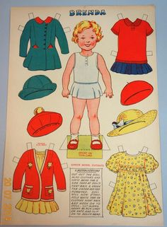 """An 11 1/4"""" x 16"""" uncut paper doll sheet from the 1930s. It is Brenda, a Junior Model Cutout byMonomark B. C. M./RNIKZ. The 10"""" paper doll has a self stand. Her four costumes include three different types of dresses and a sweater/skirt.   eBay!"""