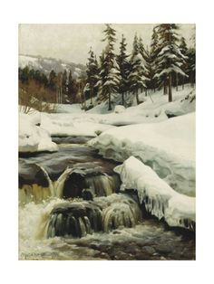 A Winter Landscape with a Mountain Torrent, 1916 Giclee Print by Peder Monsted at Art.com