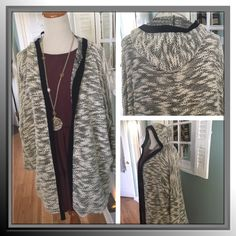 Coin 1804 for Anthropologie white black cardigan Pictures don't do this justice, soft lightweight cotton blend cardigan with banded trim and hood is the perfect throw on cardi Anthropologie Sweaters Cardigans