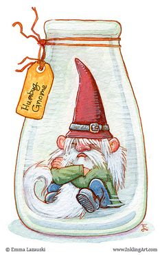 inklingart: Quick color sketch today We found the Gnome nearly downing himself in eggnog. Something about some giant stealing his red hat / white beard thing. Had to put him in a jar a while for his own safety. Happy Holidays everyone! Magical Creatures, Fantasy Creatures, Illustrations, Illustration Art, Kobold, Elves And Fairies, Christmas Art, Dungeons And Dragons, Painted Rocks